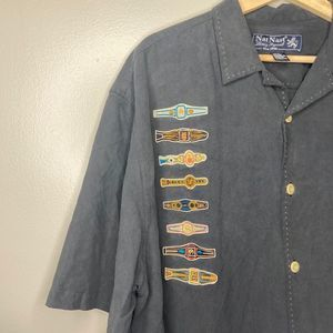 Nat Nast Men's Black Silk Button Down Shirt